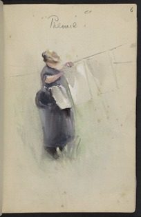 Hodgkins, Frances Mary 1869-1947 :Phemie [at the clothes-line]