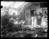 Interior damage to New Zealand YMCA hut hit by shellfire