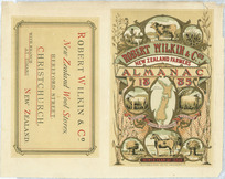 Robert Wilkin & Company :Robert Wilkin & Co.'s New Zealand farmers' almanac 1885. Fertilis frugum pecorisque tellus. Ninth year of issue. Whitcombe & Tombs Limited, Christchurch, lith. [Cover proof on sheet. 1885?]