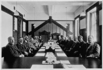 Creator unknown :Photograph of the Native Affairs Committee in the Maori Affairs Committee Room, Parliament, Wellington