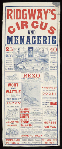 Ridgway's Circus and Menagerie. New Zealand Times Print [ca 1910-1919].