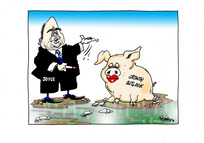Finance Minister Steven Joyce puts lipstick on a pig labelled 'Growth outlook'