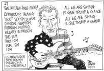 New American ambassador Scott brown plays guitar at media session
