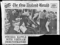 New Zealand herald :Pitched battle with Vietnam demonstrators. Auckland, Monday October 30, 1967 [Masthead and three photographs].