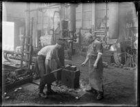 Ex-servicemen undergoing rehabilitation in a workshop after the Great War