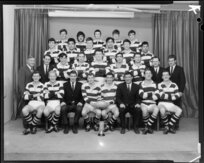 Oriental Rongotai Football Club, Wellington, senior 1st XV rugby team of 1969, with trophy