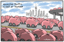 Piggy bank cars driving on Auckland motorways - Phil Twyford's regional fuel tax proposal