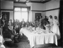 Members of the Maori Pioneer Battalion at afternoon tea
