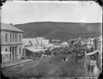 People gathering for opening of town bridge, Victoria Avenue, Whanganui