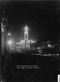 Auckland Town Hall, taken at night to show the Peace celebration illuminations