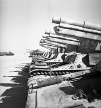 Row of German mobile 105 mm guns at El Alamein during World War II