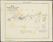 Map of the seat of war in New Zealand [cartographic material] : given gratis with the Daily Courant of 26th September 1860.