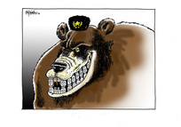 [A smiling Russian bear shows his teeth made of chemical gas canisters bearing skulls]