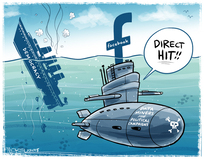 "[Facebook submarine scores a ""direct hit"" on the ship ""Democracy""]"