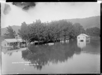 Waikato River in flood, at Ngaruawahia, ca 1910