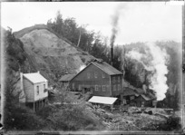 View of the Globe Hill Mine, near Reefton, Inangahua County