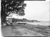 Boats at Hall's Beach, Northcote, Auckland
