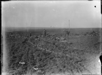 Tracks of a German tank machine gun post, destroyed by a New Zealand tank, near Le Quesnoy, France, during World War I