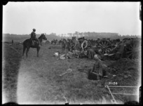 New Zealand 18 pounder battery in action, near Le Quesnoy, France, during World War I