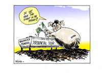 """Taxpayer funded provincial tour. Simon. """"Do NOT have moi snout in the trough!"""""""