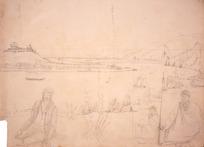 Collinson, Thomas Bernard 1822-1902 :[Wanganui from the opposite bank. 1848]. Main stockade. Gunboat stockade. Horobabera. Eruera. Taiepa no Taupo.