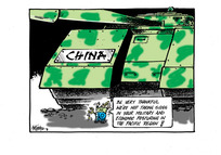 """Little Kiwi bird carrying a slingshot tells the large """"China"""" tanks they should be """"thankful we're not taking sides...in the Pacific Region"""""""