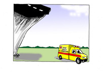 """The """"Road Safety Advertising Campaign"""" ambulance at the bottom of the roading cliff"""