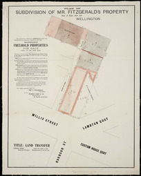 Plan of subdivision of Mr. Fitzgerald's property, part of town acre 512, Wellington [cartographic material] / [surveyed by] Thomas Ward.