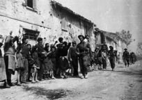 Townspeople of Barbiano, Italy, and arriving New Zealand infantry, World War II