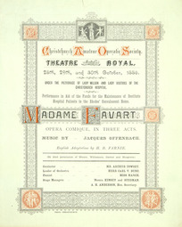 Christchurch Amateur Operatic Society :Theatre Royal, 28th, 29th, and 30th October 1886. ... Madame Favart, opera comique, in three acts. Music by Jacques Offenbach. 1886. [Cover].