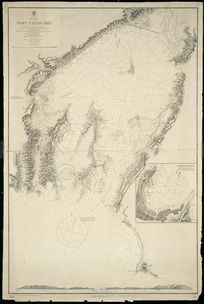 """Port Nicholson [cartographic material] / surveyed by J. L. Stokes ... of  H.M. Surveying Ship """"Acheron"""", 1849 ; the entrance re-surveyed by W. Pudsey-Dawson and the officers of H.M. Surveying Ship """"Penguin"""" 1903."""