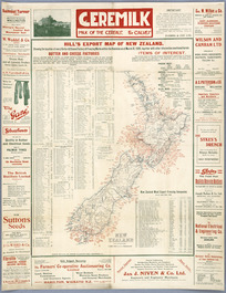 Hill's export map of New Zealand [cartographic material] : showing the location of every butter & cheese factory & freezing works  within the Dominion as at March 31, 1920, together with other information.