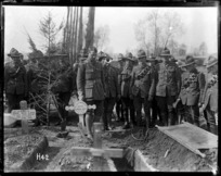 World War I New Zealand soldiers at the burial of Sapper J F Haynes, Romarin, France