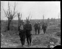 Wounded prisoners coming in near Messines, Western Front
