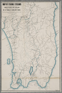 Map of fishing streams in the southern portion of the North Island, New Zealand [cartographic material] : expressly compiled for and issued with W.H. Tisdall's Anglers' guide / W.R. Bagge, del.