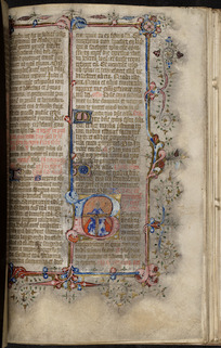 Page from Missale Romanum including an illuminated initial of the Holy Trinity