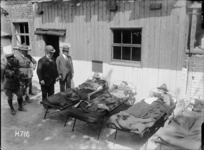 William Massey and Sir Joseph Ward visiting the sick and lightly wounded at a Field Ambulance during World War I, Authie, France