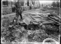 New Zealand Engineers repairing underground signal lines during World War I