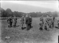 Prime Minister William Massey and Joseph Ward at the inspection of the New Zealand Rifle Brigade, Bois-de-Warnimont, France