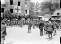 Sir Joseph Ward addresssing personnel of a New Zealand Field Ambulance during World War I, Authie, France