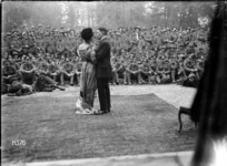Actors in an open air performance during World War I, France