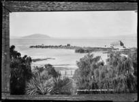 View of St Faith's Church, Ohinemutu and Mokoia Island, Lake Rotorua - Photograph taken by Sigvard Jacob Dannefaerd