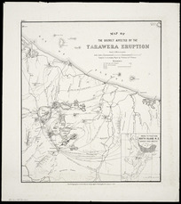 Map of the district affected by the Tarawera eruption [cartographic material] : compiled to accompany a report by Professor A.P. Thomas / drawn by A. Harding.