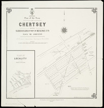 Plan of the town of Chertsey [cartographic material] : being subdivision of part of Reserve 1771, Block VIII, Ashburton / J.E. Pickett, assistant surveyor, Nov. 1883 ; J. Kelly delt.