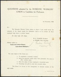 New Zealand Domestic Workers' Union :Questions submitted by the Domestic Workers' Union to Candidates for Parliament. 1st November 1908. Evening Post Print, 25604 [1908]