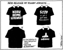 Tremain, Garrick 1941- :New release of rugby jerseys... 12 August 2011