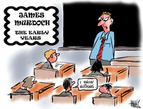 """Hawkey, Allan Charles, 1941- :James Murdoch - the early years. """"I know nothing."""" 19 August 2011"""