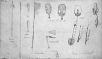 Collinson, Thomas Bernard, 1822-1902 and Henare Matene Te Whiwhi, d.1881 :These implements were drawn by Martin [of Otaki] 1846. Mere. Taiaha. Paiaka. Kororariki. Tata. Patu. Mere kotiati. He poto kerikeri wenua. Ko kumara. Ko taewaa.