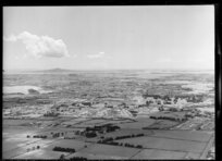 Mangere, Otahuhu, Auckland, showing Rangitoto Island in the distance