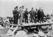 Winzenberg, Albert Edward, 1865-1931 :Richard John Seddon addressing a Liberal rally at Greytown